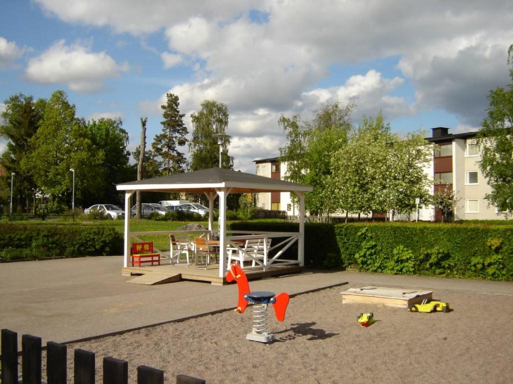 En av innergårdarna i Brf Folkungarna.